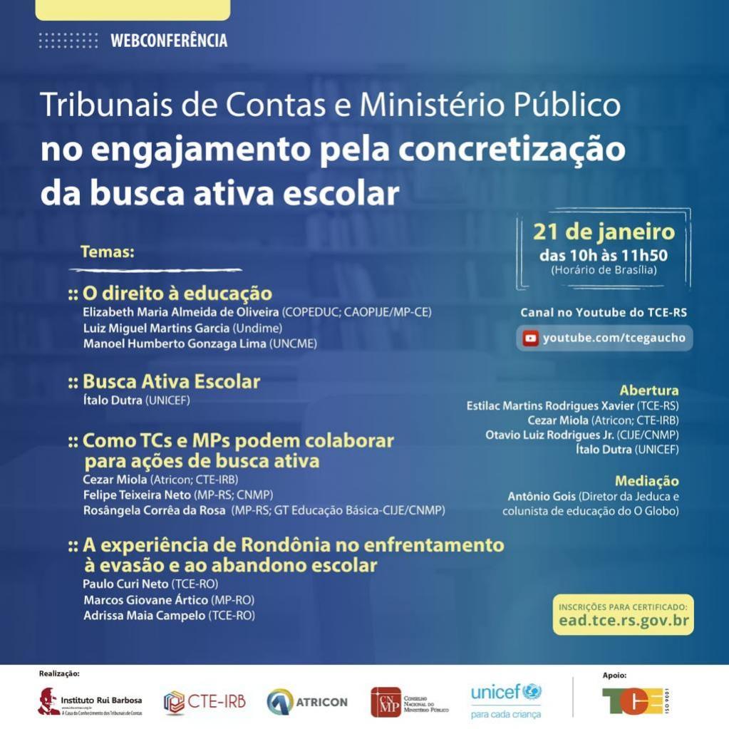 Tribunais de Contas e Ministério Público realizam Webinar pela Educação