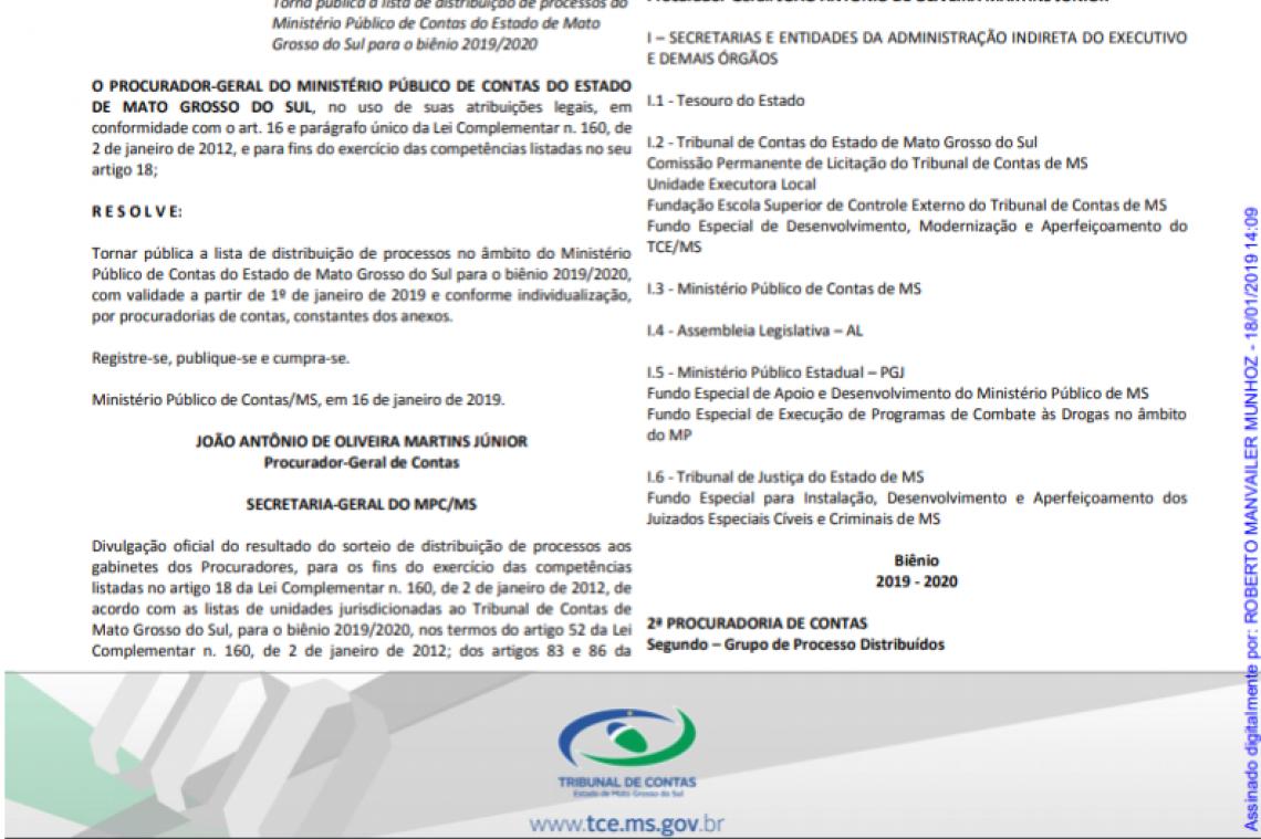 Lista de distribuição dos processos aos gabinetes dos Procuradores é publicada no Diário Oficial